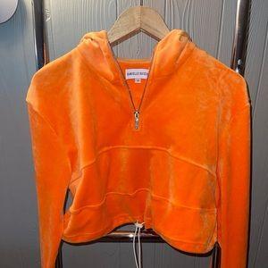 Danielle Guizio Orange Velour Jumpsuit!